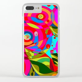 Spiral Flowers with Many Colors Clear iPhone Case