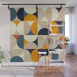 mid century abstract shapes fall winter 1 Wall Mural