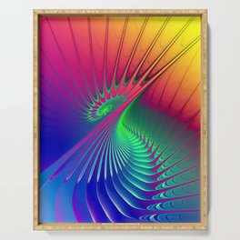 Outburst Spiral Fractal neon colored Serving Tray