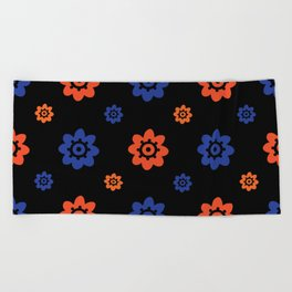Florida Gator Colors Flower Print On Black Beach Towel