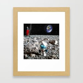 Smurf in the Moon Framed Art Print