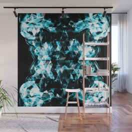 Electrifying blue sparkly triangle flames Wall Mural