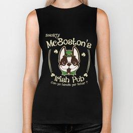 snorty mebostons irish pub can ya handle yer licker dog t-shirts Biker Tank