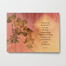Serenity Prayer Quince and Fence One Metal Print