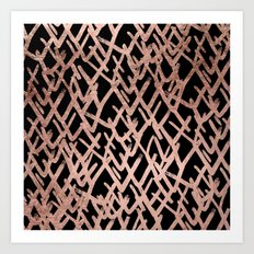 Modern abstract geometric faux rose gold pattern Art Print
