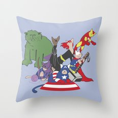 The Catvengers - Earth's Mightiest Kitties Throw Pillow