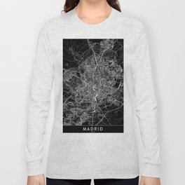 Madrid Black Map Long Sleeve T-shirt
