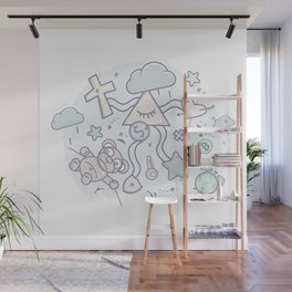 Cartoon Doodle All seeing eye. Background. Wall Mural