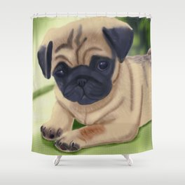 Cute pug on green sofa Shower Curtain
