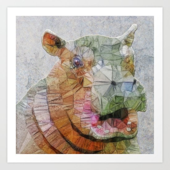 abstract hippo Art Print