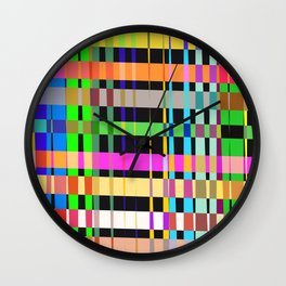inclined coloured stripes Wall Clock