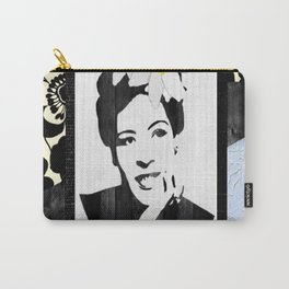 Black and White Floral Lady Day Carry-All Pouch