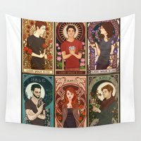nouveau Wall Tapestries featuring Nouveau Wolf by callahaa