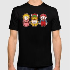 Chibi Mushroom Kingdom Black Mens Fitted Tee MEDIUM