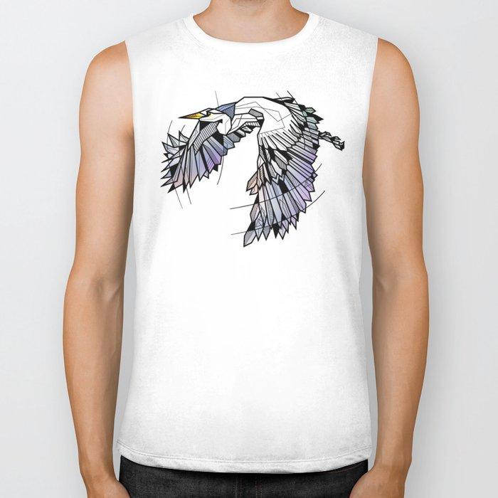 Heron Geometric Bird Biker Tank