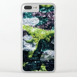 Glam Sequined Camo Clear iPhone Case