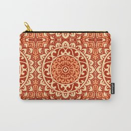 Southwestern Sun Mandala Batik, Coral Orange Carry-All Pouch