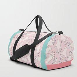 Pastel Manicured Hands Pattern Duffle Bag