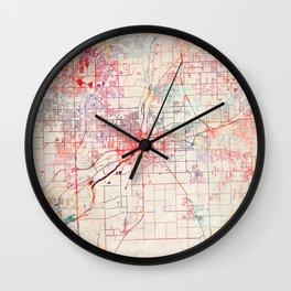 Joliet map Illinois painting Wall Clock