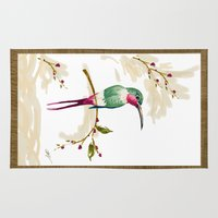 hummingbird Area & Throw Rugs featuring hummingbird by Ariadne