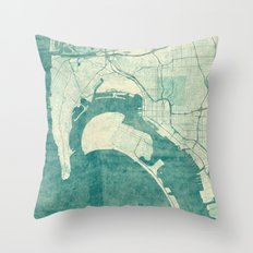 San Diego Map Blue Vintage Throw Pillow