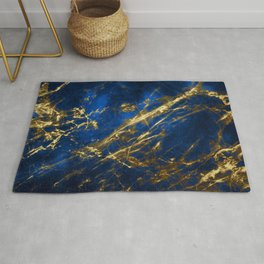 Blue Faux Marble With Gold Strike Veins Rug