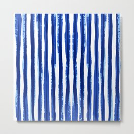 Blue and white Stipes Metal Print