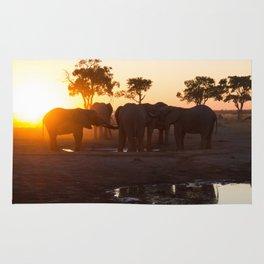 Elephants at Sunset Rug