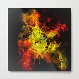 evil cat splatter watercolor Metal Print