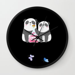 Panda Lovers Backpack Wall Clock