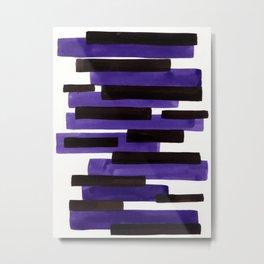 Purple Primitive Stripes Mid Century Modern Minimalist Watercolor Gouache Painting Colorful Stripes Metal Print