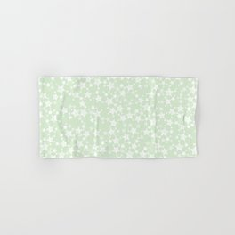 Magical Mint Green and White Stars Pattern Hand & Bath Towel