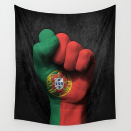 Portuguese Flag on a Raised Clenched Fist Wall Tapestry