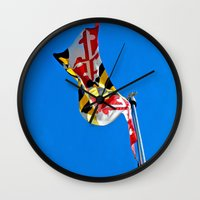 maryland Wall Clocks featuring Maryland Pride by Kelsey Hunt