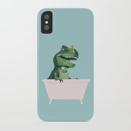 Playful T-Rex in Bathtub in Green iPhone Case