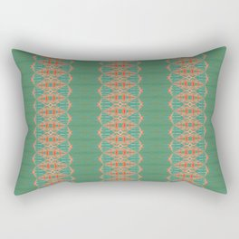 LOU - Pearl and Maude   Turquoise Blue Green Coral Peach Ornate Stripe Rectangular Pillow