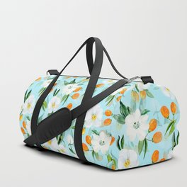 mediterranean summer kumquat and orchid branches on turquoise Duffle Bag