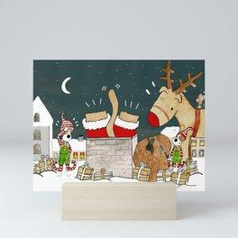 Funny Christmas Painting - Santa Dog Gets Stuck in Chimney Mini Art Print