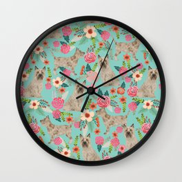 Cairn Terrier florals dog pattern cute dog breed custom gifts for dog lovers Wall Clock