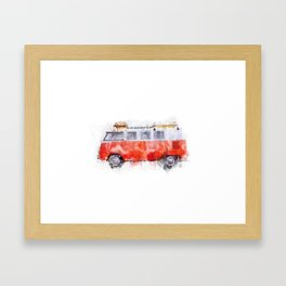 Camper Bus - retro camping van painting / illustration Framed Art Print