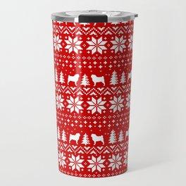 Pugs Christmas Sweater Pattern Travel Mug