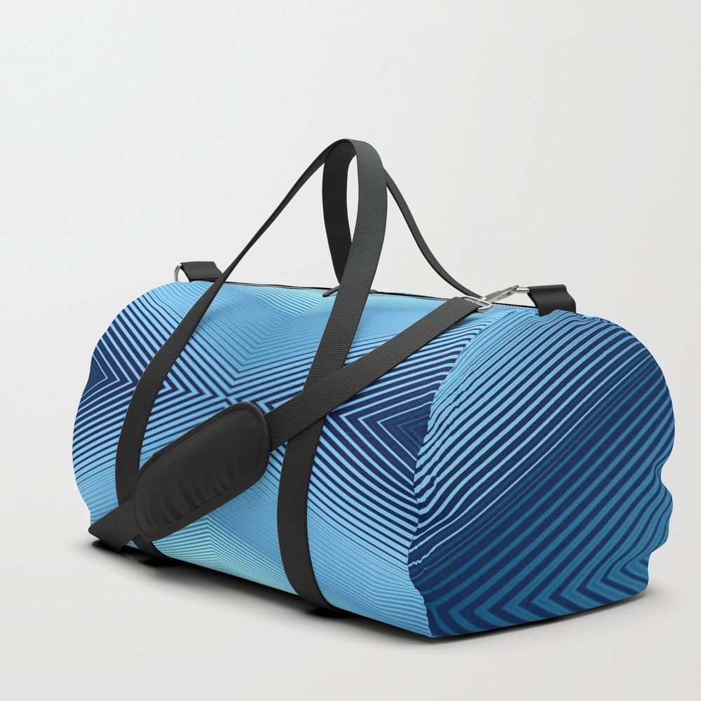 Converging Lines Blue Shades Glow Duffle Bag by Etnousta DFL8675706
