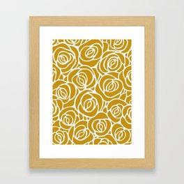 Mustard Roses Pattern Framed Art Print