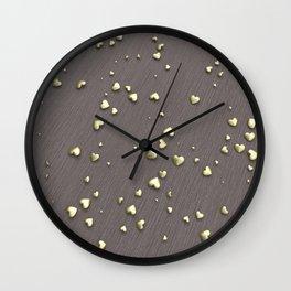 VALENTINE HEARTS - Gold Hearts & Dark Pinstripe Wall Clock