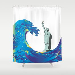 Hokusai Rainbow & the Statue of Liberty  Shower Curtain