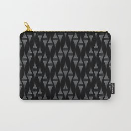 Art Deco 46 . Fishnet black gray zigzag . Carry-All Pouch