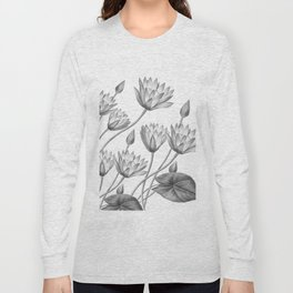 Water Lily Black And White Long Sleeve T-shirt
