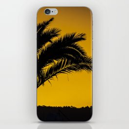 Palmtree in backlight in turkish sunset iPhone Skin