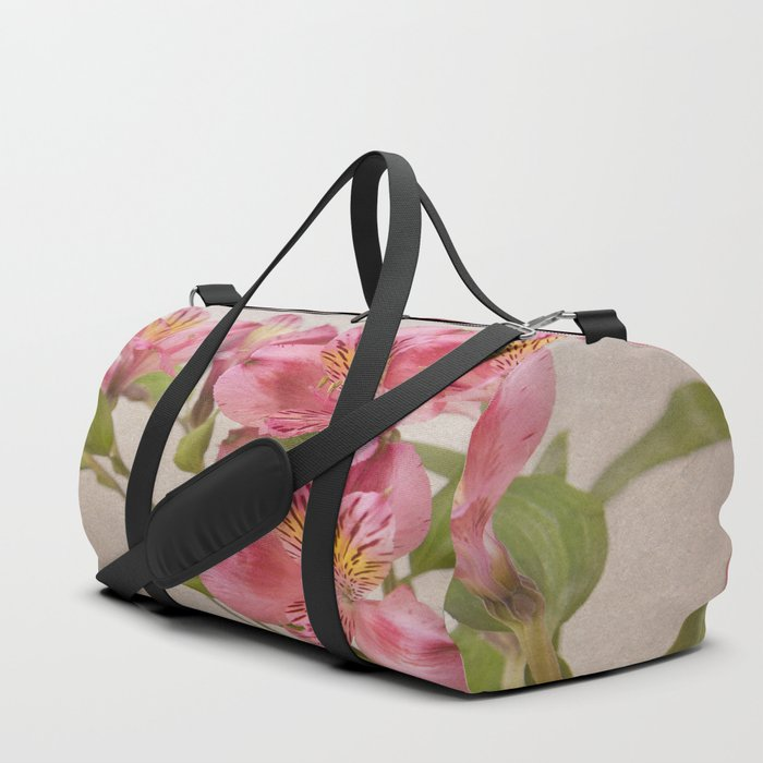 Pink Peruvian Lilies Alstroemeria Duffle Bag