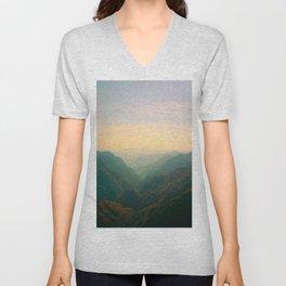 Mountain Valley Parallax Green Yellow Hues Sunset landscape Minimalist Modern Photo Unisex V-Neck